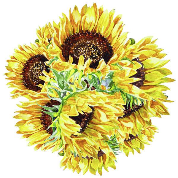 Painting - Watercolor Sunshine Of Sunflowers by Irina Sztukowski