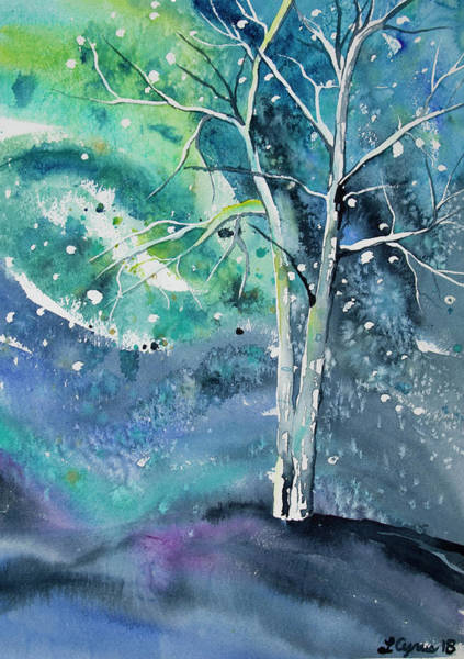 Painting - Watercolor - Tree On A Winter Night by Cascade Colors
