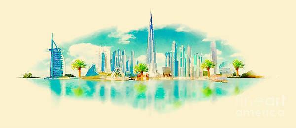 Panoramic Digital Art - Watercolor Vector Panoramic Dubai by Trentemoller