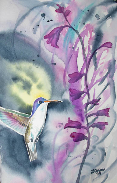 Painting - Watercolor - Violet-crowned Hummingbird by Cascade Colors