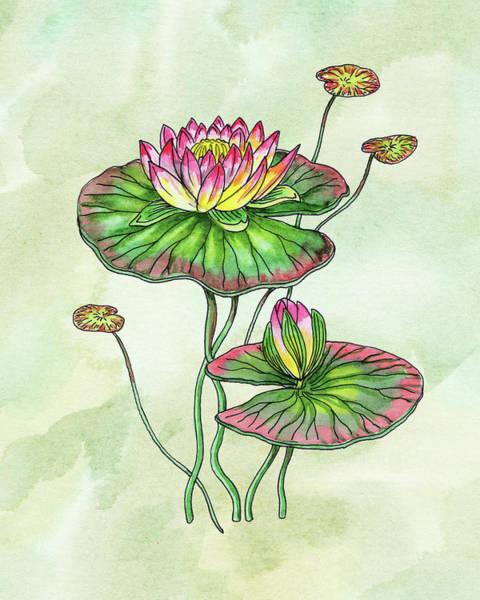 Painting - Watercolor Water Lily Botanical Flower by Irina Sztukowski