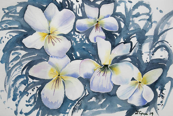 Painting - Watercolor - White Violets by Cascade Colors