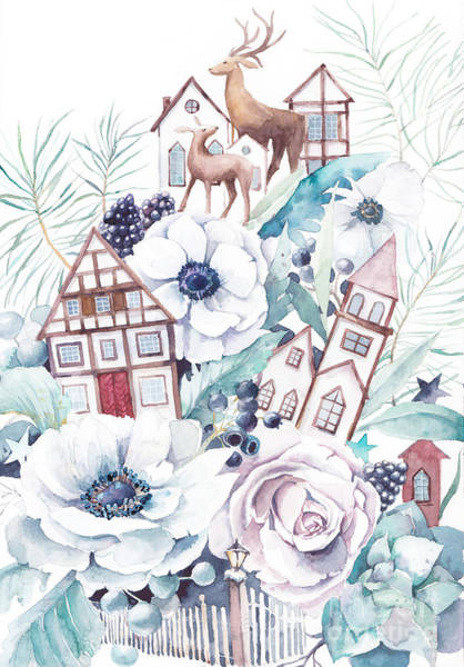 Fairytale Wall Art - Digital Art - Watercolor Winter Fairytale by Eisfrei
