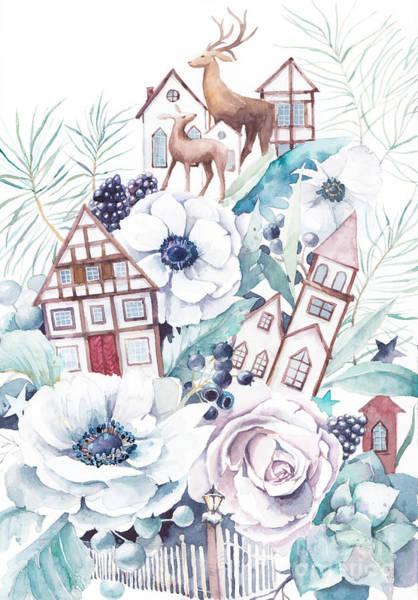 Antlers Digital Art - Watercolor Winter Fairytale by Eisfrei