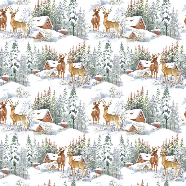 December Wall Art - Digital Art - Watercolor Winter Landscape With Deers by Kostanproff
