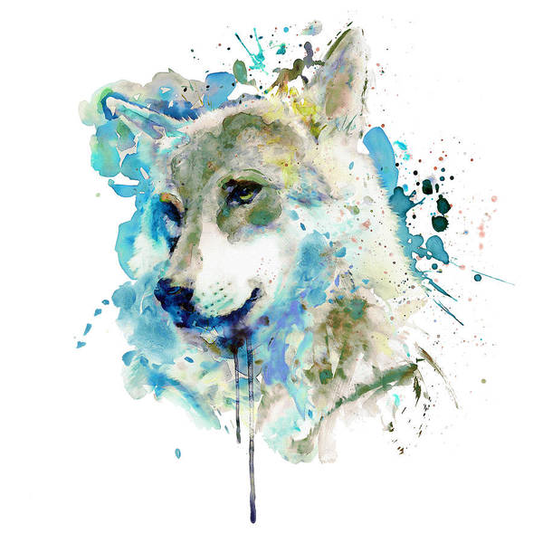 Wall Art - Painting - Watercolor Wolf Portrait by Marian Voicu