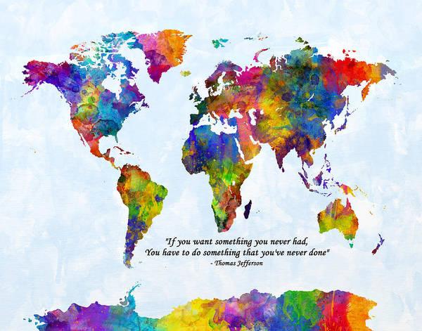 Wall Art - Digital Art - Watercolor World Map Custom Text Added by Michael Tompsett