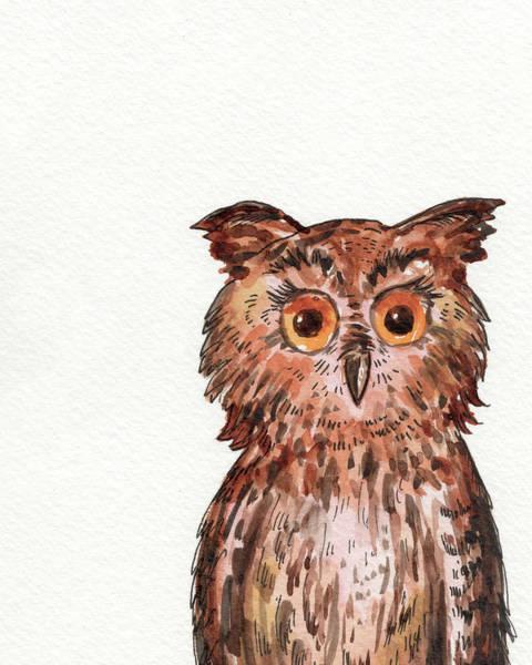 Painting - Watercolour Baby Owl  by Irina Sztukowski