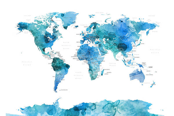Wall Art - Digital Art - Watercolour Political Map Of The World Blue by Michael Tompsett