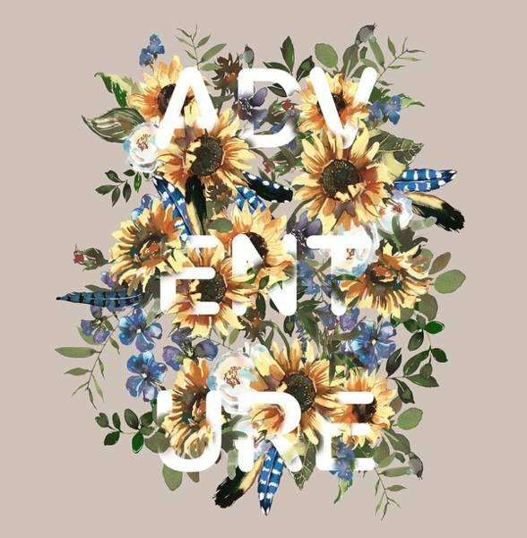 Painting - Watercolour Sunflowers Adventure Typography by Georgeta Blanaru