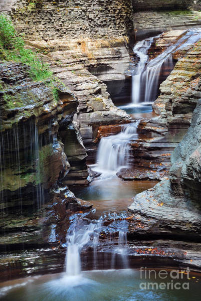 Cliffs Wall Art - Photograph - Waterfall Closeup In Woods With Rocks by Songquan Deng