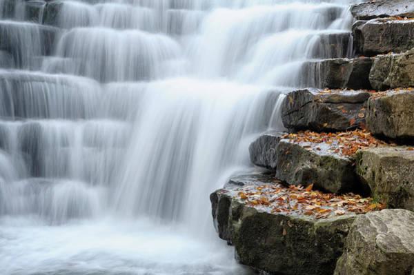 Waterfall Flowing Over Rock Stair Art Print