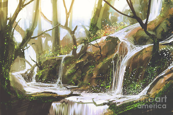 Wall Art - Digital Art - Waterfall In Forest,illustration by Tithi Luadthong