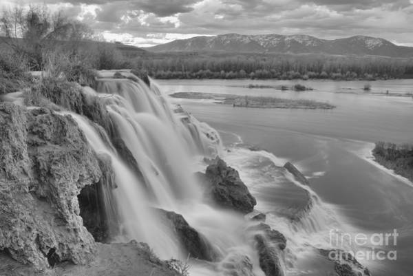 Photograph - Waterfall Into The Snake River Black And White by Adam Jewell