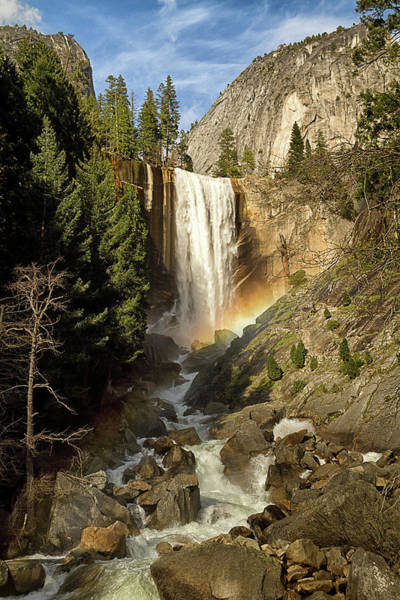 Vernal Fall Photograph - Waterfall With Rainbow by Alice Cahill