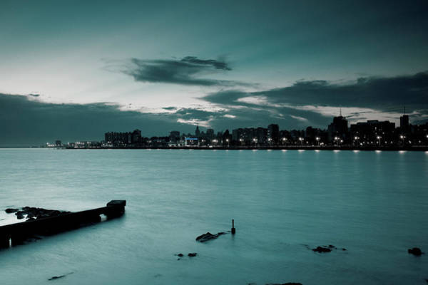 Montevideo Wall Art - Photograph - Waterfront At Dusk, View From La by Walter Bibikow