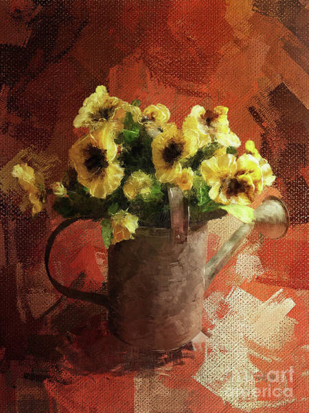 Wall Art - Digital Art - Watering Can With Pansies by Lois Bryan