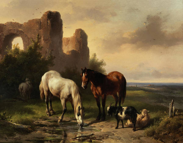 Wall Art - Painting - Watering Horses Near A Ruin by Wouterus Verschuur