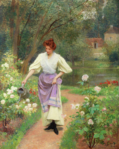 Wall Art - Painting - Watering The Garden by Victor-Gabriel Gilbert
