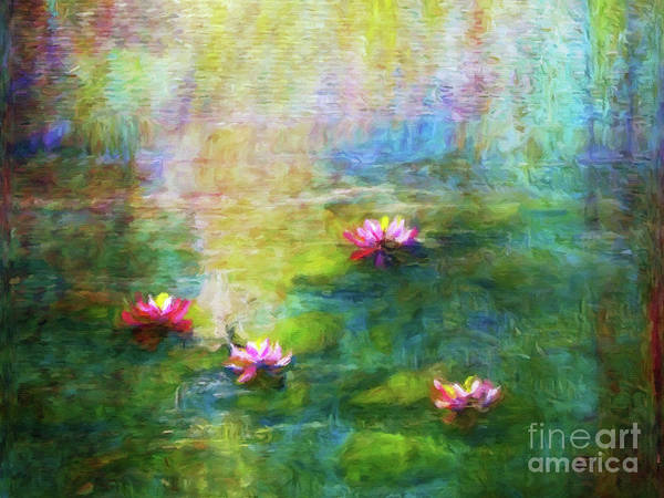 Wall Art - Painting - Water Lilies In Morning Mist by Jerome Stumphauzer