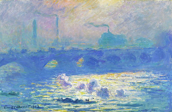 Riverbed Painting - Waterloo Bridge - Digital Remastered Edition by Claude Monet