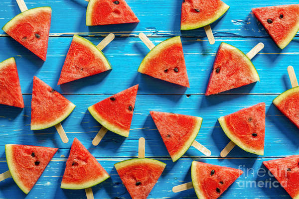 Health Wall Art - Photograph - Watermelon Slice Popsicles On A Blue by I Am Kulz
