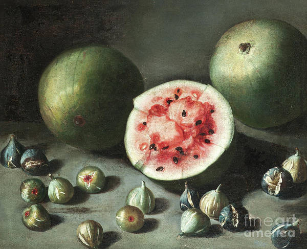 Wall Art - Painting - Watermelons And Figs On A Stone Ledge  by Neapolitan School