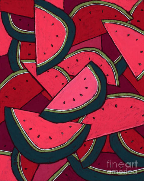 Wall Art - Pastel - Watermelons Everywhere by David Hinds