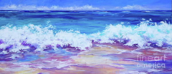 Wave Breaking Painting - Wave Breaking On The Beach by John Clark