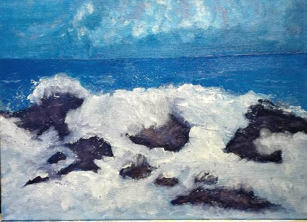 Painting - Wave Over Rocks by George Dalton