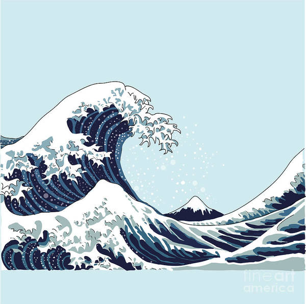 Black Hair Wall Art - Digital Art - Wave Vector Illustration Japanese by Aleksandrav