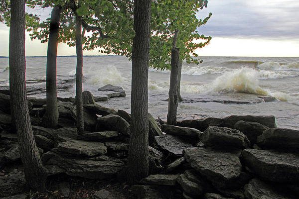 Photograph - Waves Against The Rocky Shore by Angela Murdock