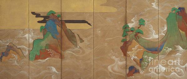 Wall Art - Painting - Waves At Matsushima, Edo Period  by Tawaraya Sotatsu