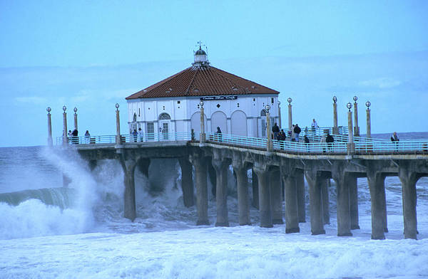 Manhattan Beach California Photograph - Waves Breaking Into The Pier At by Christina Lease