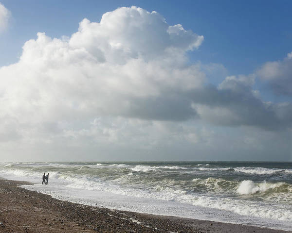 Waters Edge Photograph - Waves Breaking Onto Shingle Beach On A by David C Tomlinson