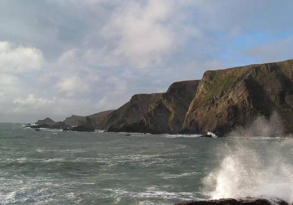 Wall Art - Photograph - Waves Breaking Over Slipway Hartland Quay Devon by Richard Brookes