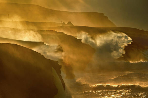 Clare Photograph - Waves Crashing On Rocky Cliffs by George Karbus Photography
