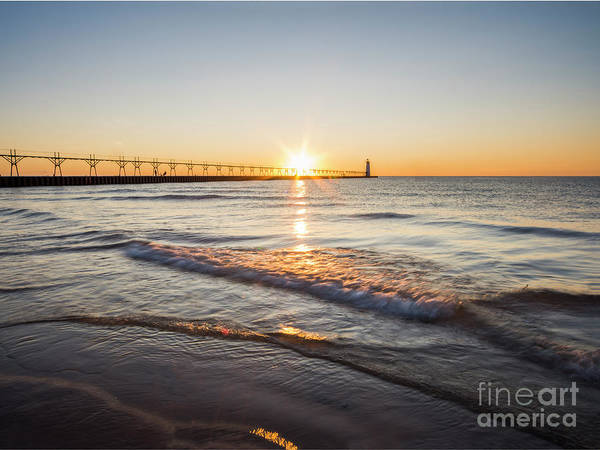 Wall Art - Photograph - Waves, Lighthouse, And Pier by Twenty Two North Photography