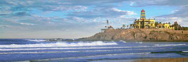 Waves On Beach With Hacienda Cerritos Art Print