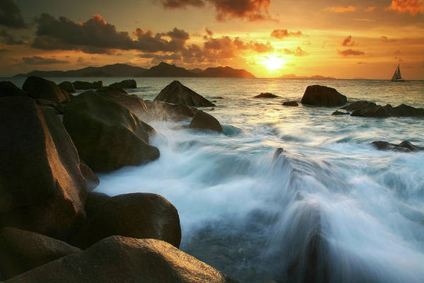 Severe Wall Art - Photograph - Waves On Granite Rocks At Edge Of Anse by Max Paoli