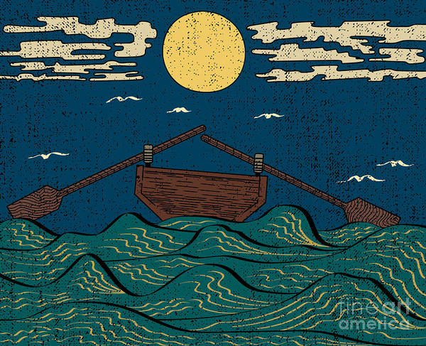 Engraved Digital Art - Wavy Sea Water Landscape Depicting Boat by Drug Naroda