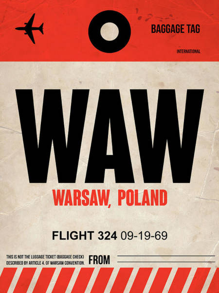 Wall Art - Digital Art - Waw Warsaw Luggage Tag I by Naxart Studio