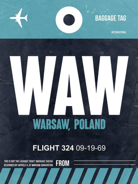 Wall Art - Digital Art - Waw Warsaw Luggage Tag II by Naxart Studio