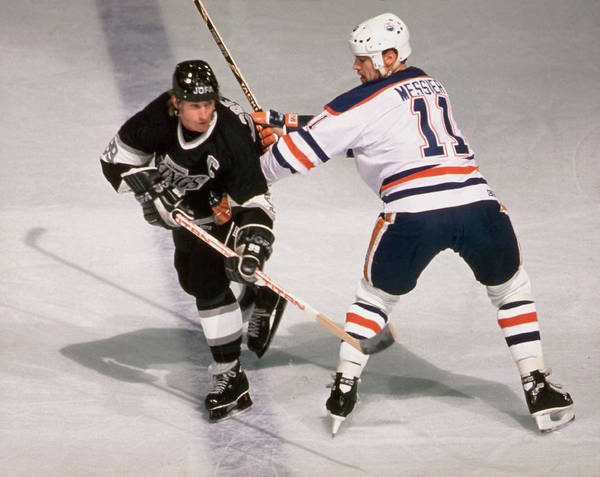 Messy Photograph - Wayne Gretzky & Mark Messier Battle It by B Bennett