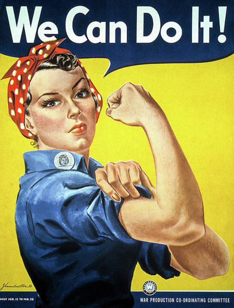 Rosie Wall Art - Painting - We Can Do It, 1942 by J Howard Miller