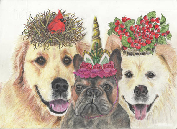 Golden Retriever Drawing - We Three K Nines by Marla Saville