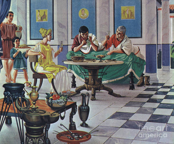 Wall Art - Painting - Wealthy Roman Family, Enjoying A Meal by Angus McBride