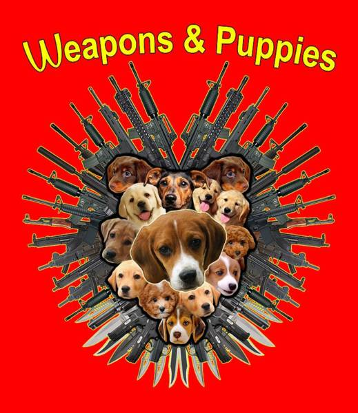 Painting - Weapon And Puppies by Yom Tov Blumenthal