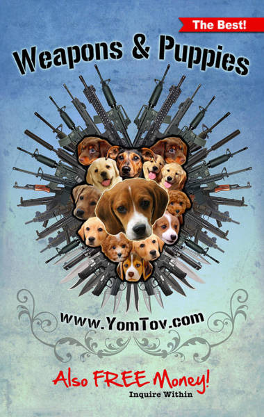 Painting - Weapons And Puppies Blue by Yom Tov Blumenthal
