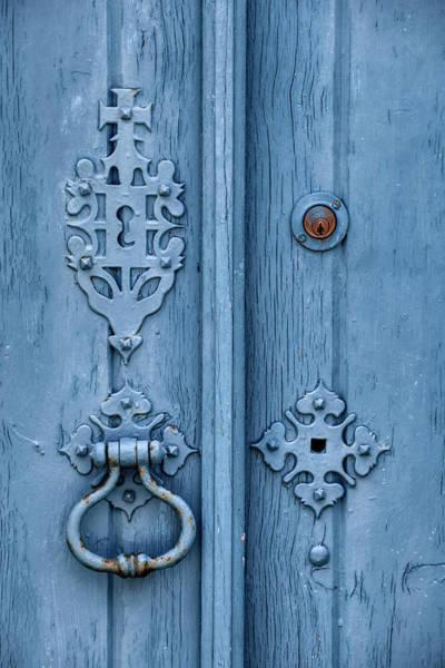 Weathered Blue Door Lock Art Print